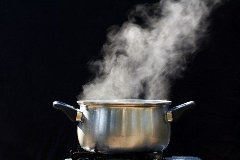 vapours coming from the boiling vinegar